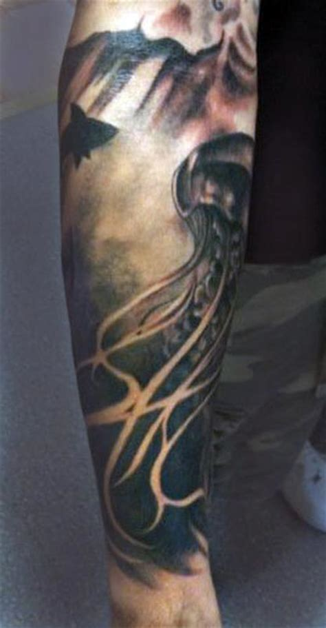 black and grey jellyfish tattoo jellyfish by meg lee tattoos
