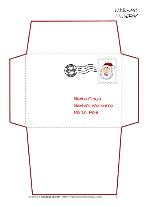 printable letter santa claus envelope template simple