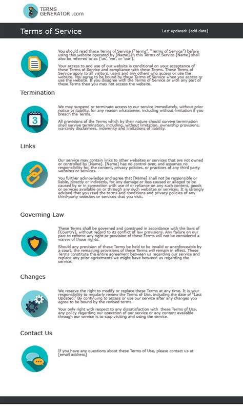 terms of service template glance at a standard terms and conditions template