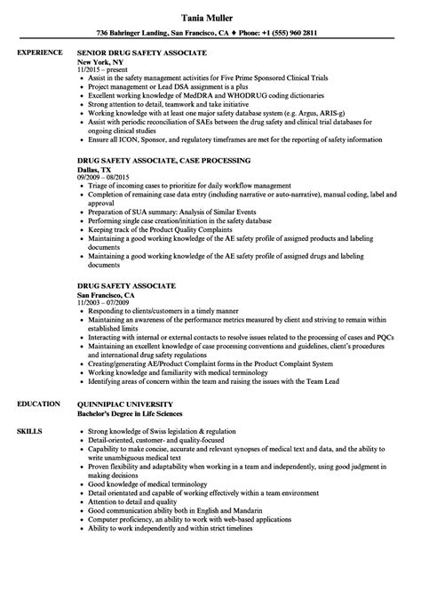 drug safety associate resume sles velvet jobs