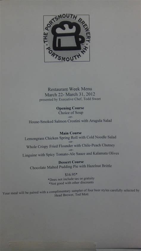 Portsmouth Restaurant Gift Card - 2012 portsmouth restaurant week starts thursday the portsmouth brewery