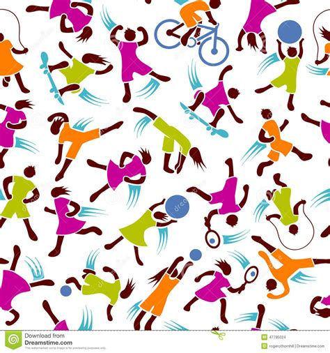 design pattern exercises youth fitness exercise figures seamless pattern stock