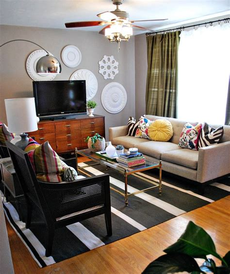 neutral living room with pops of color living room