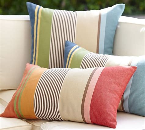 Hawthorne Stripe Indoor Outdoor Lumbar Pillow Outdoor Patio Lumbar Pillows