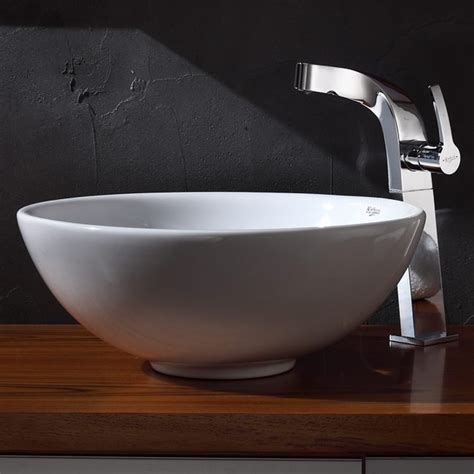modern bathroom sinks kraus c kcv 141 15100ch white round ceramic sink and