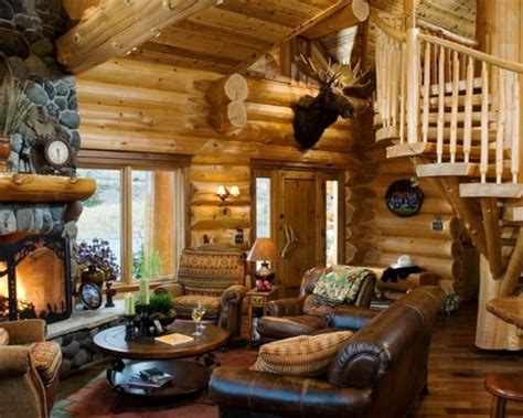 Log Cabin Living Rooms by Log Cabin Decorating Houzz