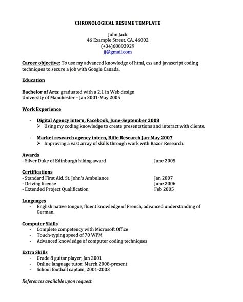 chronological resume sles pdf chronological resume for canada joblers