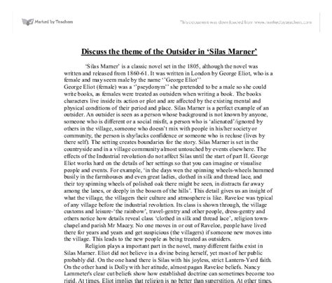 discuss the themes of outsider in silas marner and to discuss the theme of the outsider in silas marner