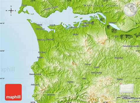 a physical map of oregon physical map of clatsop county