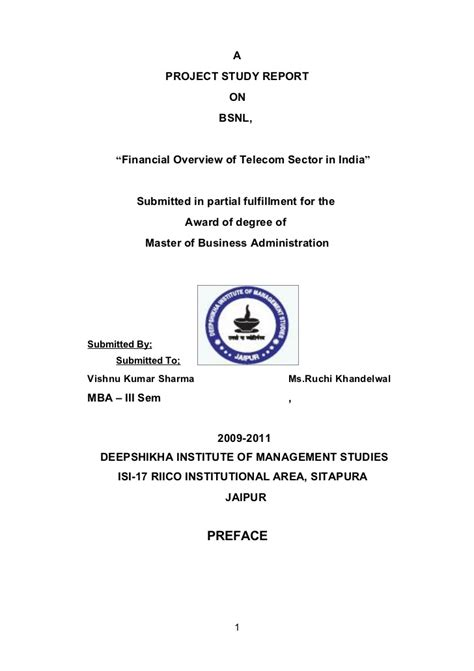 Mba Project Report On Industrial Relation Pdf by Bsnl Project Report