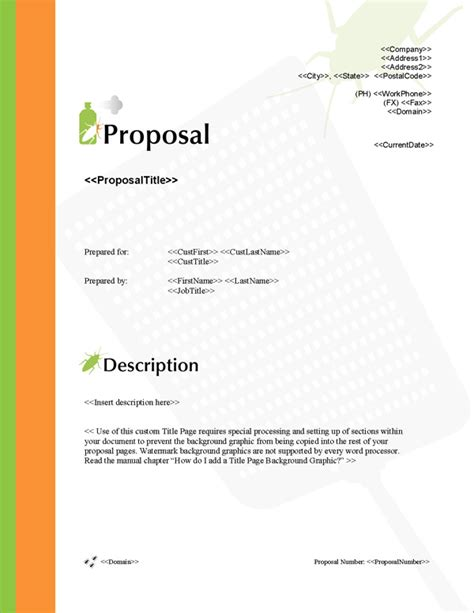 Proposal Pack Pest Control 1 Software Templates Sles Pest Bid Template