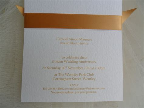 from 163 1 25 each top ribbon golden weddin more wording for 50th wedding anniversary invitation