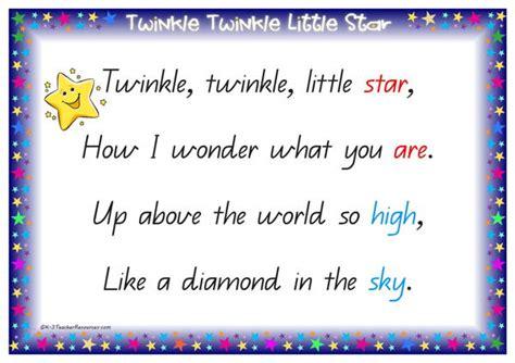Rhyme Desk Twinkle Twinkle Little Star Qld Page 02 K 3 Teacher