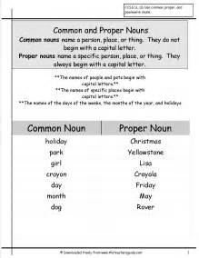 common and proper nouns worksheets from the teacher s guide