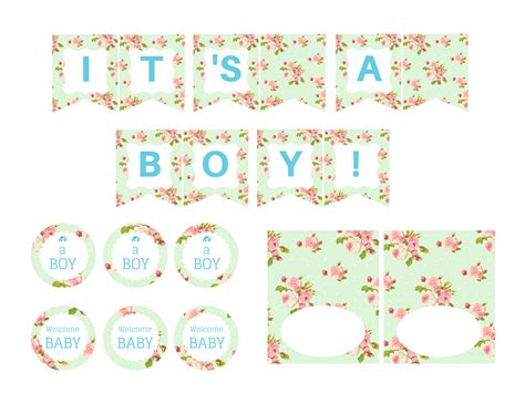 mint shabby chic boy baby shower magical printable