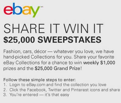 ebay sweepstakes share it win it 25000 giveaway sweeps maniac - Ebay Sweepstakes