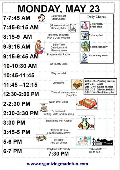 printable daily schedule for adhd child 10 best images of adhd daily routine charts for kids