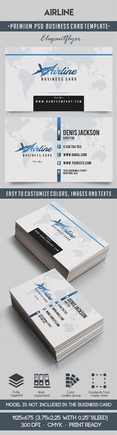 Air Business Card Template by Airline Premium Business Card Templates Psd By