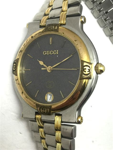 Gucci Twofaces 03cg101 gucci mens stainless steel two tone band black