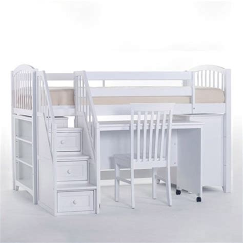 kids loft beds with stairs ne kids school house junior loft bed with stairs in white 7060njlstd