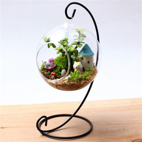 Diy Recycled Home Decor by Terrarium Glass Air Plant Containers With Stand For Table