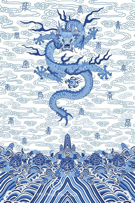blue and white painting chinese imperial dragon robe in blue and white the pink