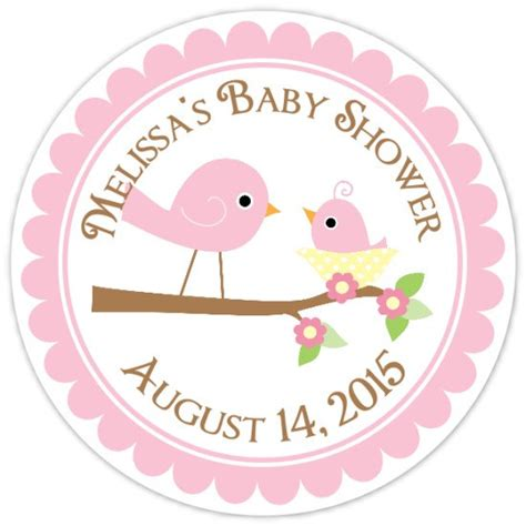 baby shower label template for favors baby birds baby shower labels and baby bird custom baby