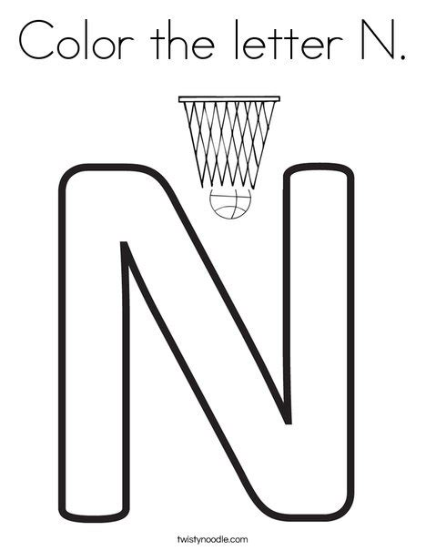 coloring pages that start with the letter n color the letter n coloring page twisty noodle