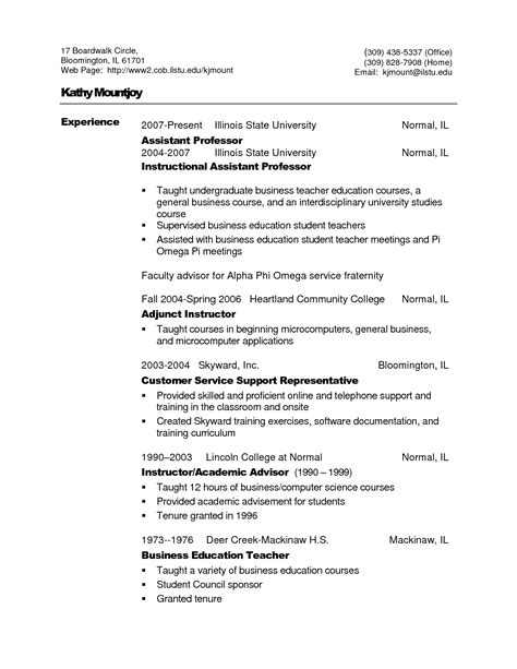 Community College Professor Resume Sle by Resume Format For Assistant Professor Resume