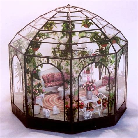 glass doll house conservatory 2 miniatures dollhouse doll house glass house terrarium green