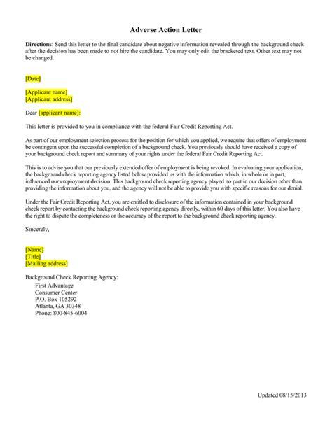 sample letter final candidate negative information