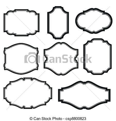 Square Marco Oval vettori di cornici set barocco semplice set di nero