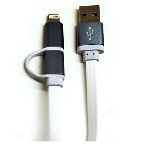 2 In 1 Duo Magic Cable Lightning And Micro Usb Cable Fo Berkualitas 1 2 in 1 duo magic metal cable lightning and micro usb cable 1 8a for android ios 11 gray