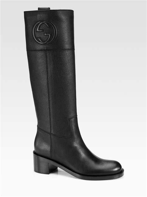 black gucci boots for gucci soho leather boots in black lyst