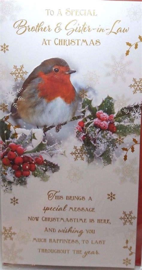 brother sisterinlaw christmas card traditional robin design nice verse ebay law