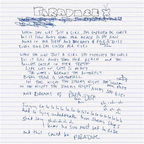 coldplay paradise lyrics chris s handwritten lyrics of quot coldplay paradise