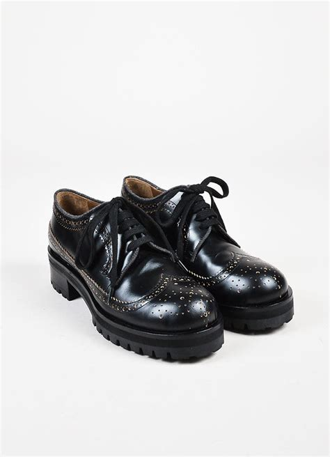 Marni   Marni Black Leather Treaded Outsole Chunky Heel Lace Up Brogues ? Luxury Garage Sale