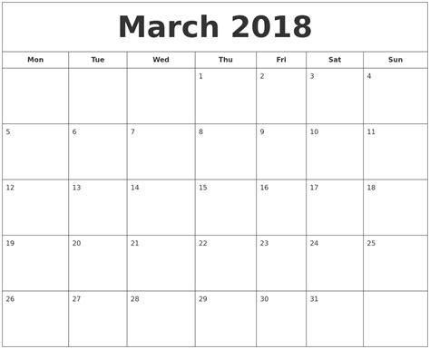 printable calendar monday start march 2018 printable calendar