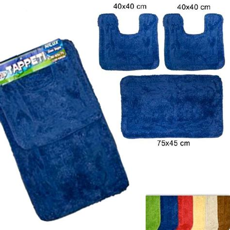 set tappeti bagno set 3 pezzi tappeti bagno modello foglie 1 pz 45x75 cm