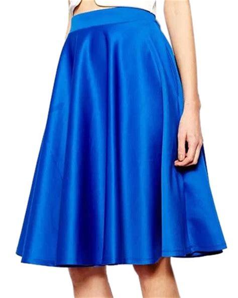 blue high waist pleated midi skirt with pockets sk0150026 2