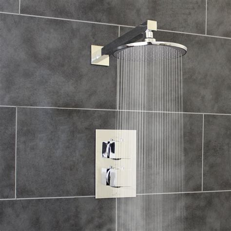 round showers bathroom thermostatic 1 way shower valve 2 square handles with