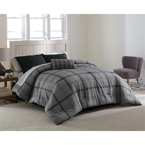 Black Plaid Comforter by Bed Reversible Comforter Sleeping Soft Cotton Modern Plaid