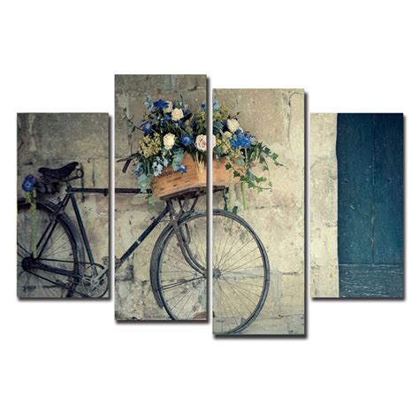 cycling home decor 4 pieces canvas painting vintage home decor print retro