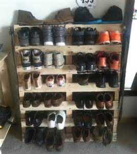 pallet wood redone to create a shoe rack pallet