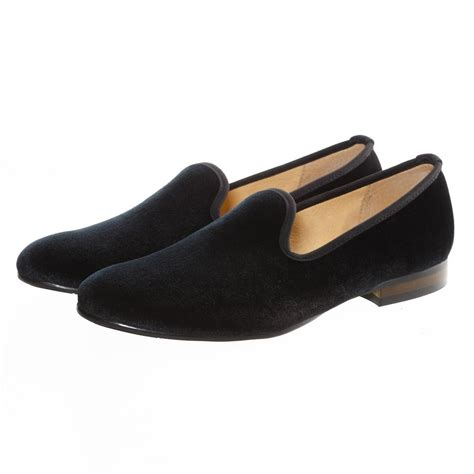 black plain slip on velvet loafers dress shoes