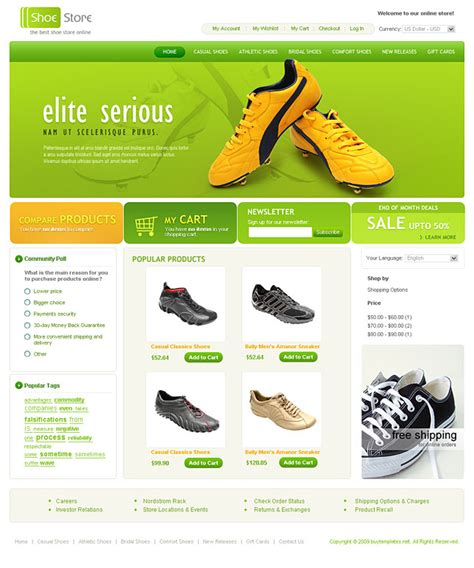ecommerce site template ecommerce website templates for shoe shop