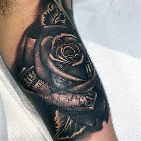 mens black rose tattoo 80 money designs for cool currency ink