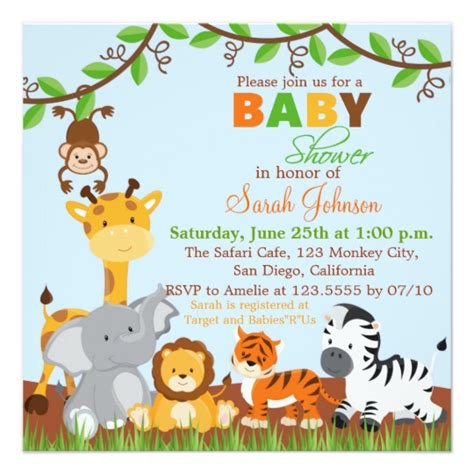 Safari Baby Shower Invitations Template by Safari Jungle Animals Baby Shower Invitation Zazzle