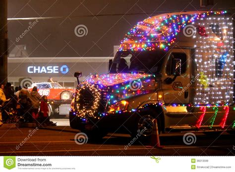 christmas lights parade in keizer oregon editorial stock