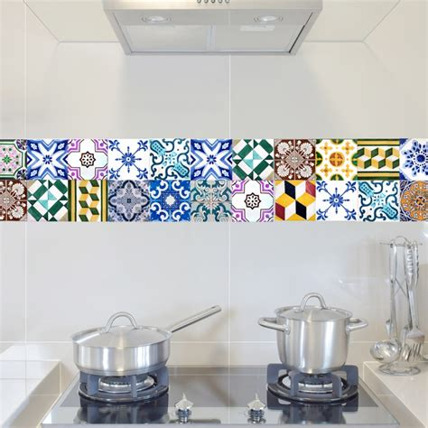 tile decals for kitchen backsplash portugal tiles stickers wels set of 16 tile decals for